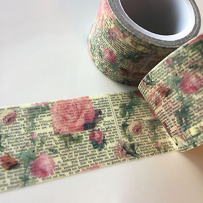 Washi Tape Wide Floral Newsprint 30Mm X 5Mtrs Craft Wrap Plan Scrap Journal