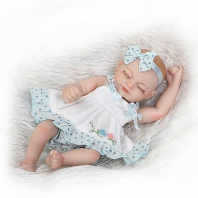 "Handmade Newborn 10"" Reborn Baby Dolls Girl Bathing Full Soft Silicone Toy Mini"