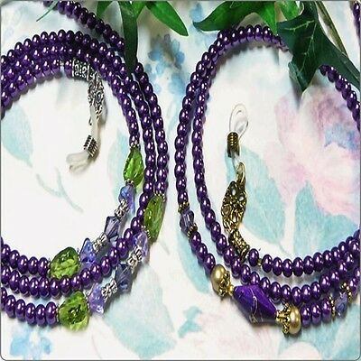 Reading Eye glasses, Sunglasses, spectacle chain holder Purple Pearl Collection