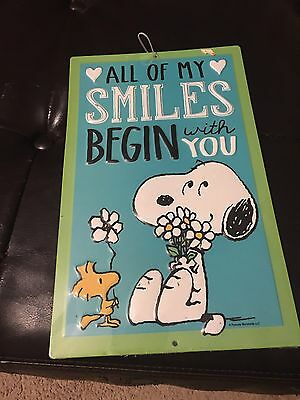 New Snoopy & Woodstock Metal Sign All My Smiles Begin With You