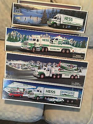 Lot of 20 Hess Trucks 1988 - 2004 Fire Truck Race Cars Helicopter, Gasoline etc