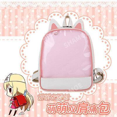 Transparent Clear Candy Jelly Pink Cat Ears Itabag Shoulders Bag Backpack Comic