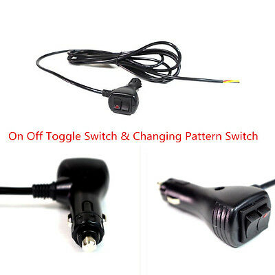12V Cigarette Lighter Socket Plug With Changing Pattern & On Off Toggle Switch