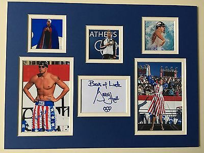 """Swimming Gary Hall Jr Signed 16"""" X 12"""" Double Mounted Display"""