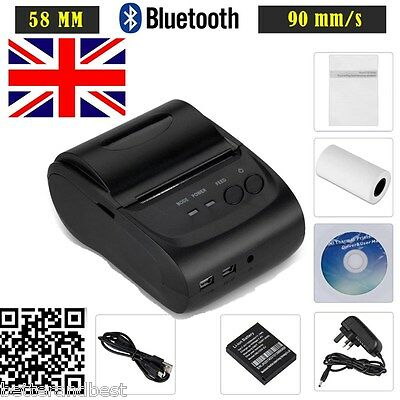 Bluetooth Wireless USB 58mm Thermal Dot Receipt Printer ESC/POS/STAR+Paper Roll