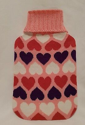 Knitted Cover for 2 Litre Hot Water Bottle Pink with Love Hearts FREE POSTAGE