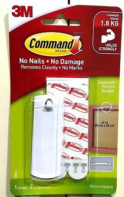 3M Command Sawtooth Picture Frame Hanger Damage Free Hanging Strong White Hook