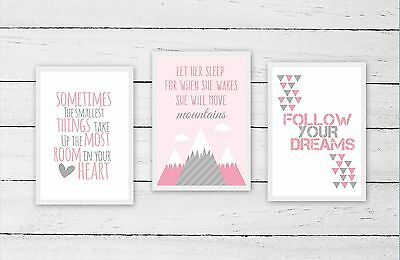 Nursery/Kids Room Wall Art Print Set of 3  ~ A4