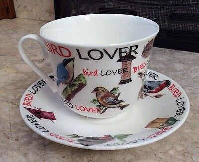 New Bird Lover Breakfast Cup & Saucer Roy Kirkham 2011 Large Fine Bone China Cup