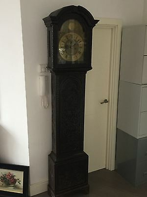Antique 18thC carved oak longcase grandfather clock by Joseph Davis London