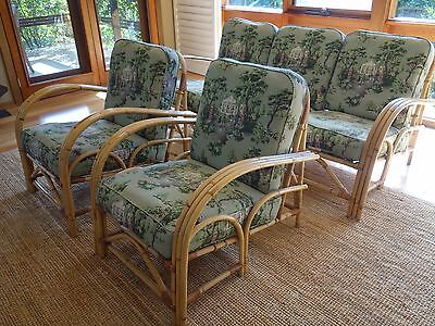 RETRO 50s BLONDE CANE  3 PC VINTAGE FABRIC UPHOLSTERED LOUNGE/ARMCHAIRS