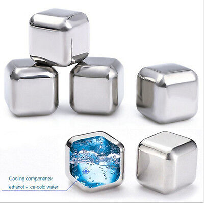Stainless Steel Wine Whiskey Drink Chiller Stones Rocks Ice Balls Cubes Glacier