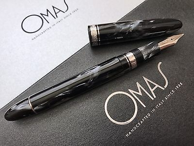 Omas Ogiva Celluloid Grey Smoke London Fountain Pen Broad 18k White Gold Nib