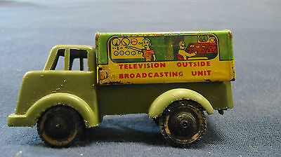 Rare vintage Wells Brimtoy tinplate Television Outside Broadcasting Unit toy UK