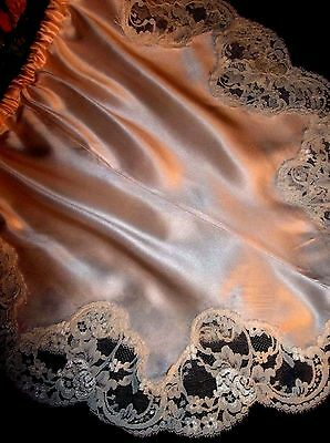 Vtg Silk Wide French Leaf Chantilly Lace Pink Tap Panties Bloomers Knickers S-M