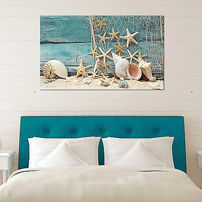 Framed Canvas prints Shell starfish sand Beach view pale fence modern wall art
