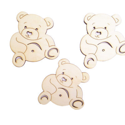 10pcs Blank Wooden Pieces Bear Shapes DIY Craft Kids Painting Toys