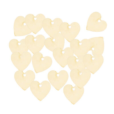Vintage 25pcs Blank Wooden Pieces Heart Shapes DIY Craft Kids Painting Toys