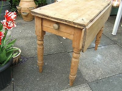 Antique Victorian Chunky Scrub Pine Kitchen Table Drop Leaf With Drawer Shabby