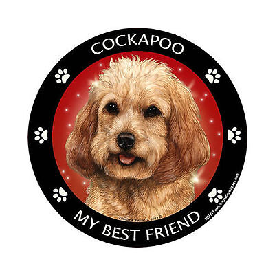My Cockapoo Blonde Is My Best Friend Dog Car Magnet