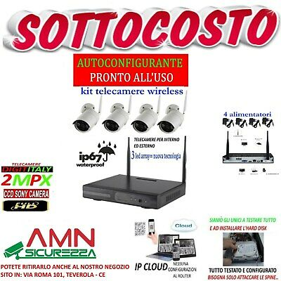 Kit Wireless Videosorveglianza Ahd 2Mp Dvr Full Hd 4 Telecamere+Hard Disk 2Tb