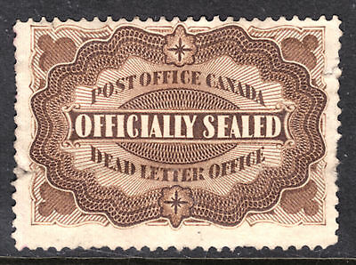 Canada #ox1 Yellow Brown, 1879 Officially Sealed Stamp, F, Used