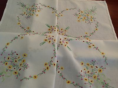 "Vintage Hand Embroidered Off White Linen Tablecloth "" Circles Of Flowers "" 40x43"