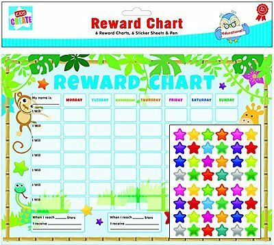 Reward Charts 6pc Childrens Jungle Themed Charts with Stickers & Pens