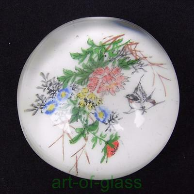 vintage 1920s 1930s Chinese white glass paperweight