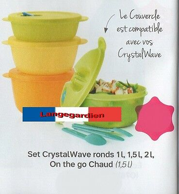 Set Crystalwave ronds (1L,1.5L, 2L) + on the go chaud  Tupperware NEUF