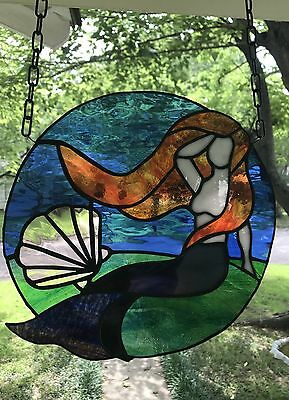 "Mermaid Stained Glass Window Panel Large Suncatcher 11"" x 11"" Round"