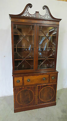 Baker China Cabinet Bookcase Mahogany Chippendale