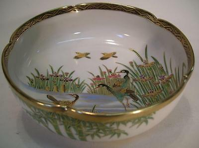 Antique Japanese Satsuma Scalloped Bowl. Storks & Water Iris. Meiji (988)