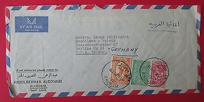 SAUDI ARABIA to GERMANY USA SECTOR 1959 cover KHOBAR cancel tax airpost stamps