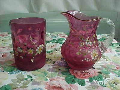 Victorian Coin Dot Pitcher And Tumbler Enamel & Frosted Cranberry Glass