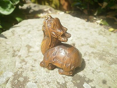 Hand carved wood netsuke Turtle dragon raws, vintage / Antique style figurine