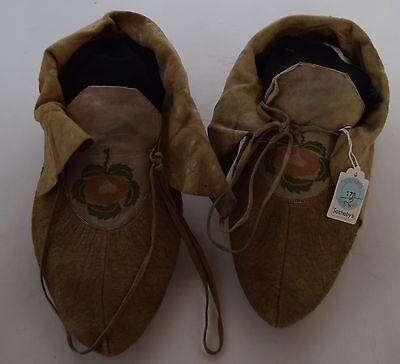 Early pre 1900's Cree Native American embroidered large hide Moccasins