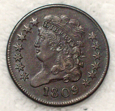 1809 HALF CENT Classic Head VF+/XF Brown Tone C-3 Rotated Reverse Authentic Coin
