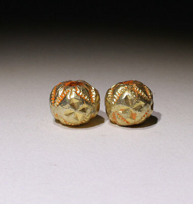 2 X Post Medieval Gold Beads - No Reserve!