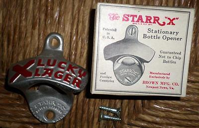 "NOS Vintage Starr X ""Lucky Lager"" Metal Bottle Opener w/Box & Screws L5"