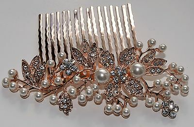 BN Bridal Rose Gold Wedding Crystal & Pearls Women Hair Clip Comb 161 UK