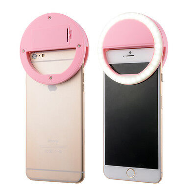 Pink Cellphone Camera LED Ring Flash Fill Light Selfie Enhancing Dimmable DC709
