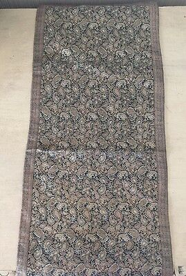 Vintage Antique Silk Paisley Tapestry Table Runner Linen Pillow Fabric Scrap