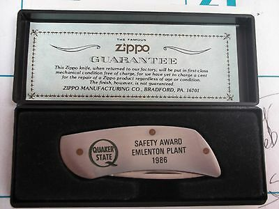 vintage zippo knife with quaker state logo SAFETY AWARD EMLENTON PLANT 1986