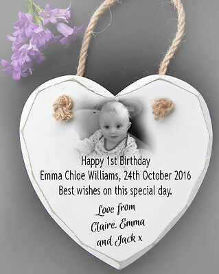 Personalised Hanging White Wooden Heart Wall Plaque Sign 1st birthday present