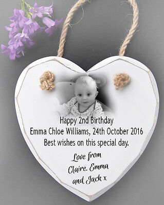 Personalised Hanging White Wooden Heart Wall Plaque Sign 2nd birthday present