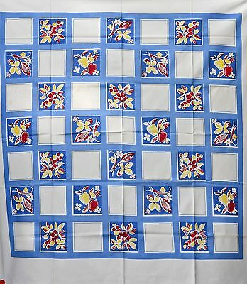 """MIDCENTURY BLUE & WHITE WITH FRUITS & FLOWERS -  USA COTTON TABLECLOTH 50"""" x 52"""""""