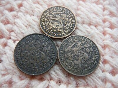 Netherlands 1916, 1925, 1926 Cent Lot of 3