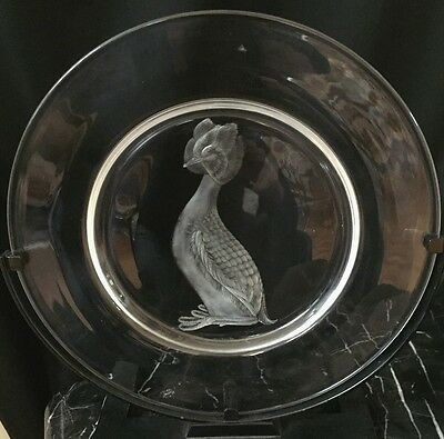 Steuben CopperWheel Engraved Audubon Series Plate: Horned Grebe