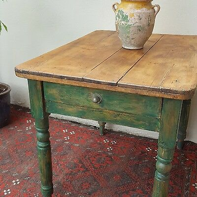 Small old pine rustic vintage table, rough luxe, distressed, kitchen, hallway